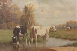 Clinton Loveridge O/C, Landscape with Cows