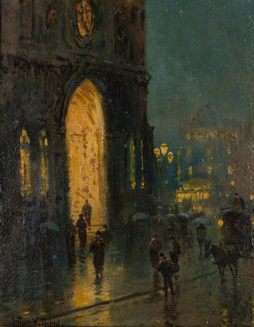Arthur Diehl Oil on Panel, Cathedral at Night - 2