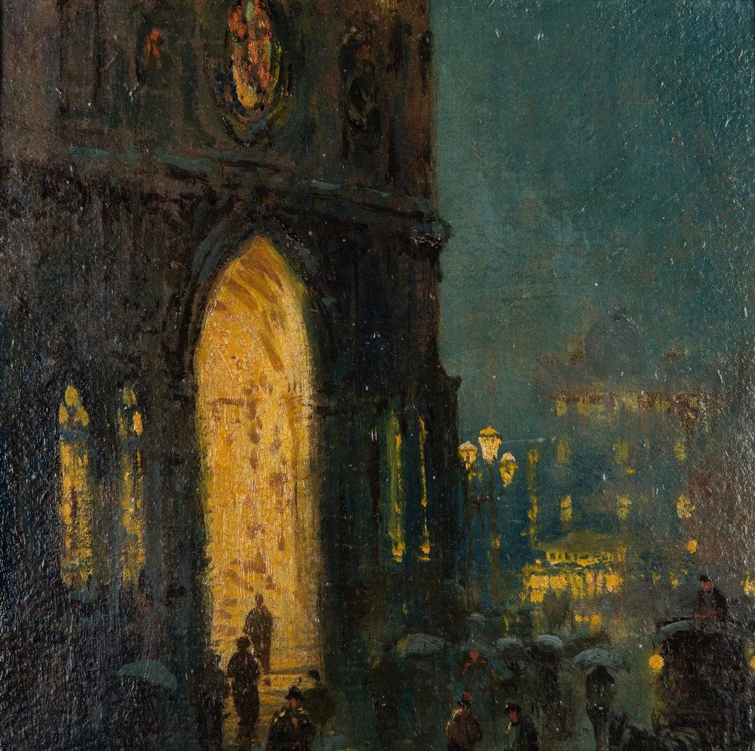 Arthur Diehl Oil on Panel, Cathedral at Night - 3