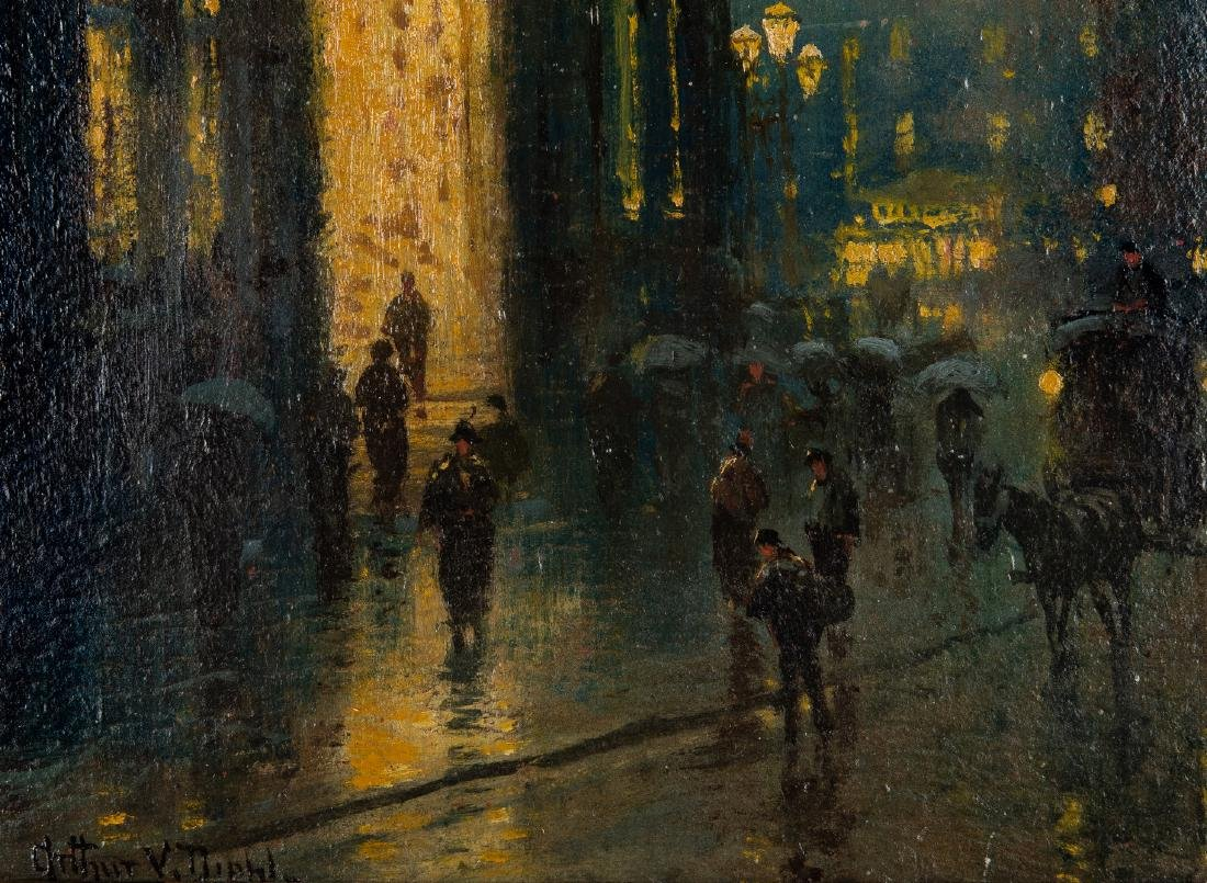 Arthur Diehl Oil on Panel, Cathedral at Night - 4