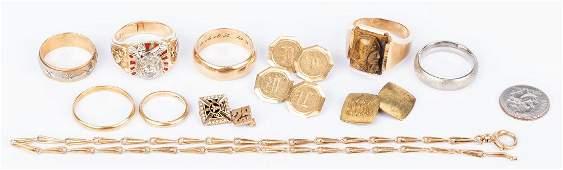 Group of 11 pcs 14K gold Jewelry incl Masonic
