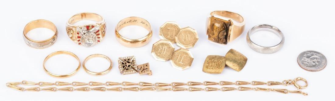 Group of 11 pcs 14K gold Jewelry, incl. Masonic