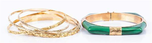 Group 14K Bangles incl. Malachite Bracelet