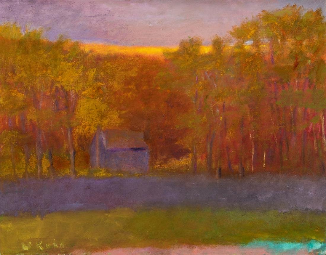 Wolf Kahn Oil on Canvas Landscape, Glow on the Ridge
