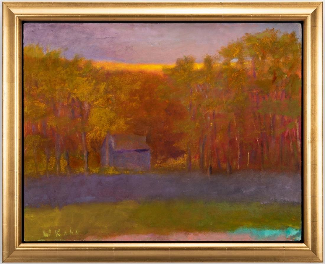 Wolf Kahn Oil on Canvas Landscape, Glow on the Ridge - 2