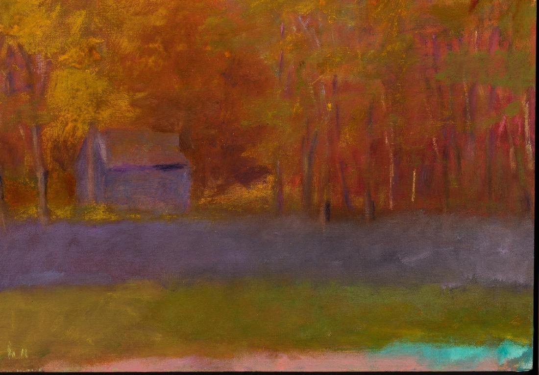 Wolf Kahn Oil on Canvas Landscape, Glow on the Ridge - 6