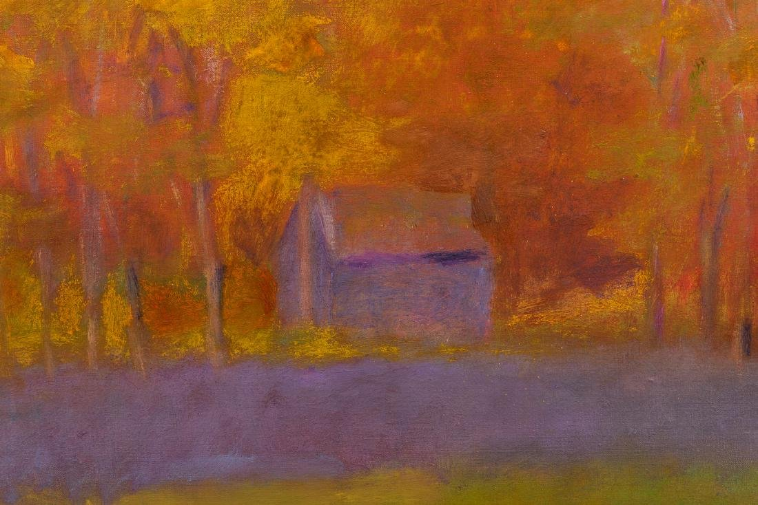 Wolf Kahn Oil on Canvas Landscape, Glow on the Ridge - 8
