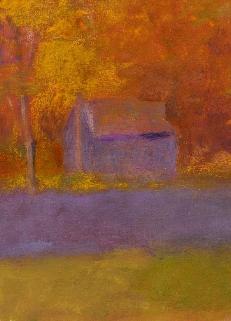 Wolf Kahn Oil on Canvas Landscape, Glow on the Ridge - 9