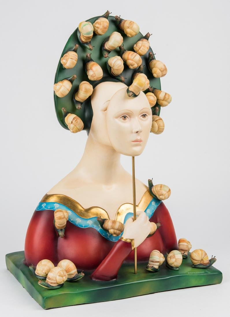 Sergio Bustamante Sculpture, Bust with Snails - 2
