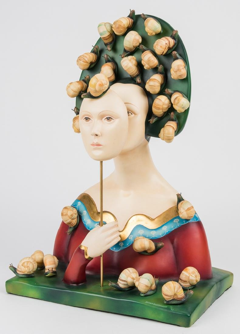 Sergio Bustamante Sculpture, Bust with Snails - 3