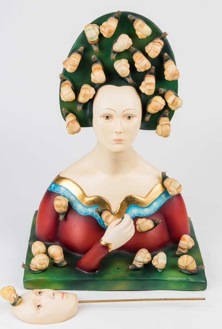 Sergio Bustamante Sculpture, Bust with Snails - 4
