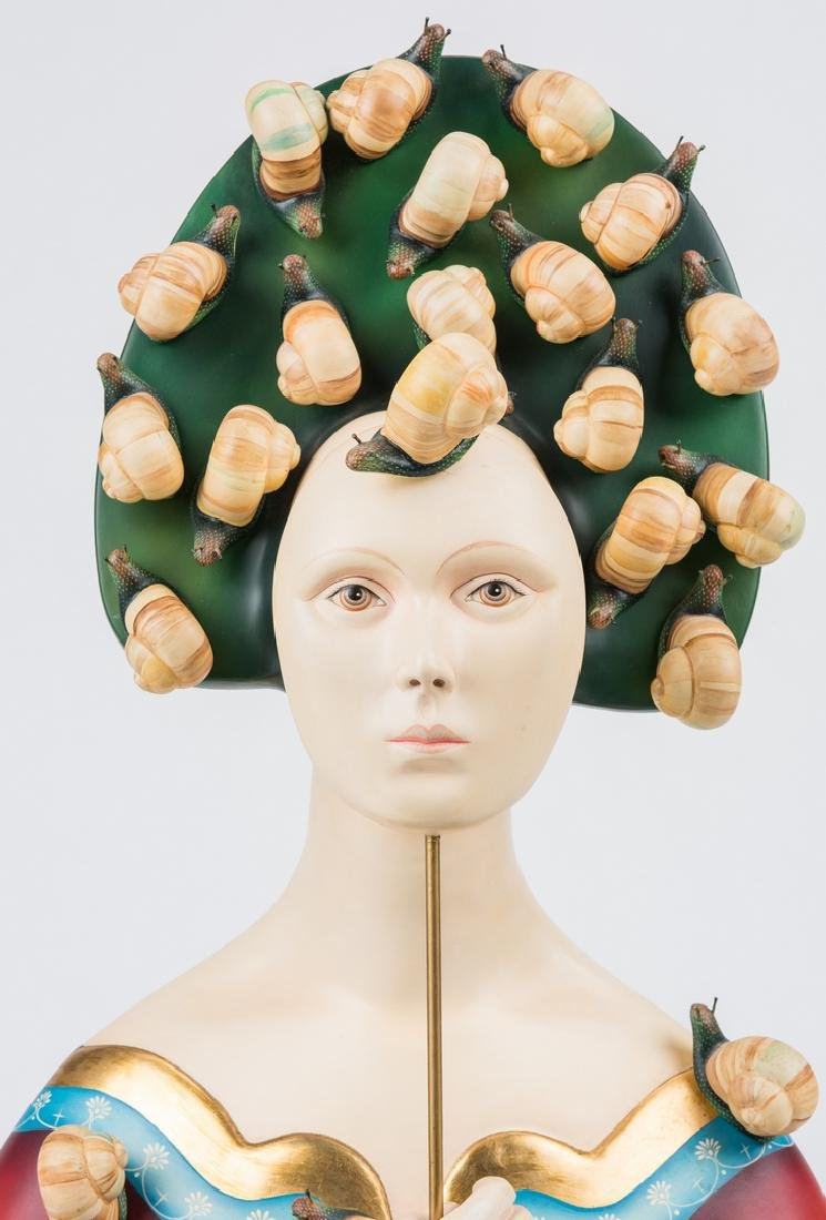 Sergio Bustamante Sculpture, Bust with Snails - 5