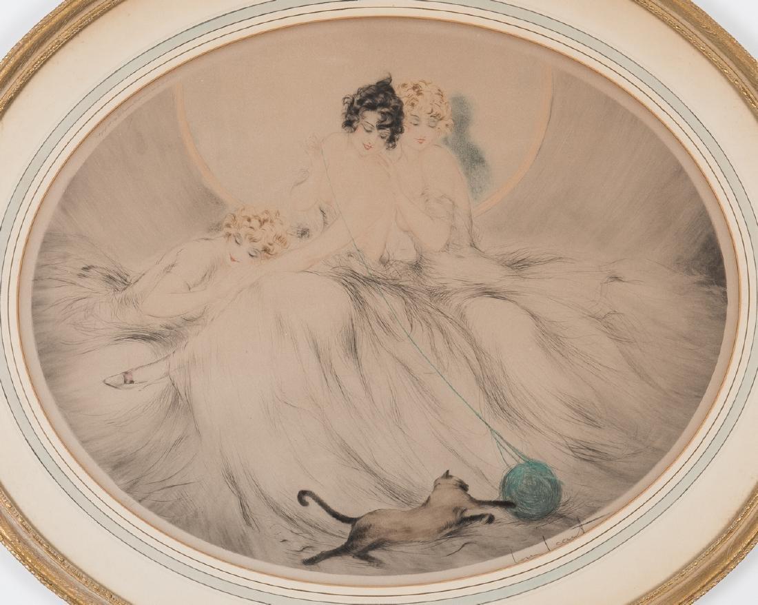 Louis Icart Lithograph, 3 Beauties w/ Cat - 2