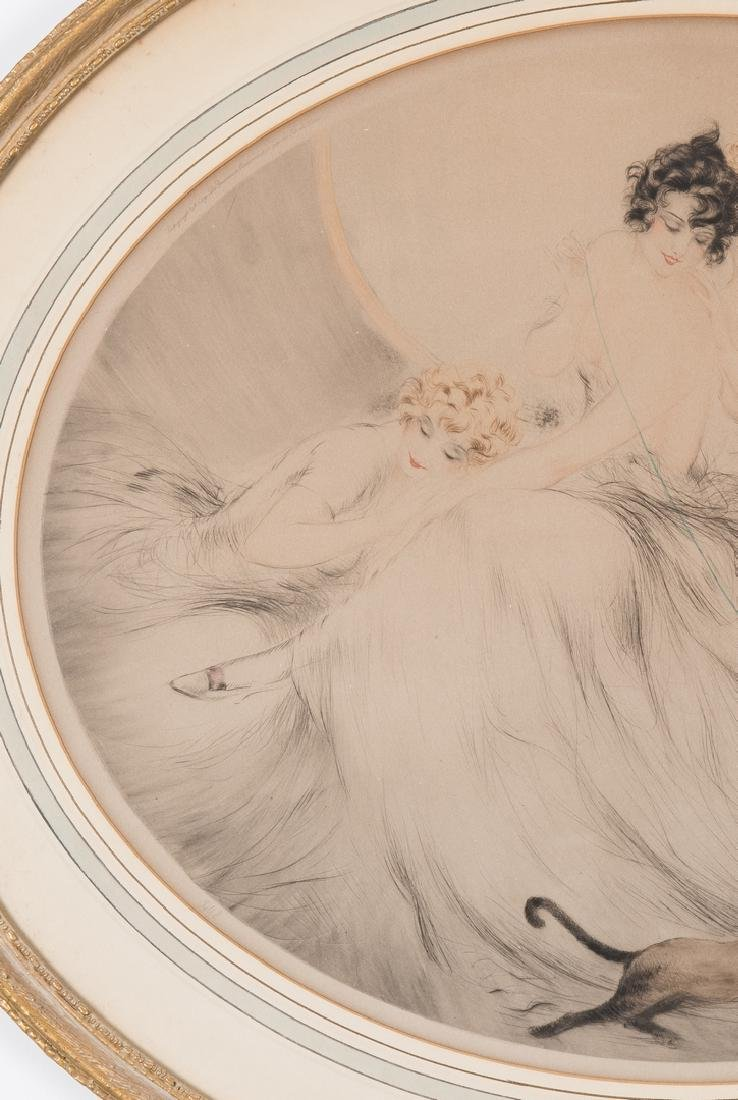Louis Icart Lithograph, 3 Beauties w/ Cat - 3