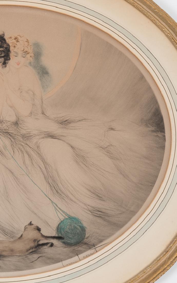 Louis Icart Lithograph, 3 Beauties w/ Cat - 4