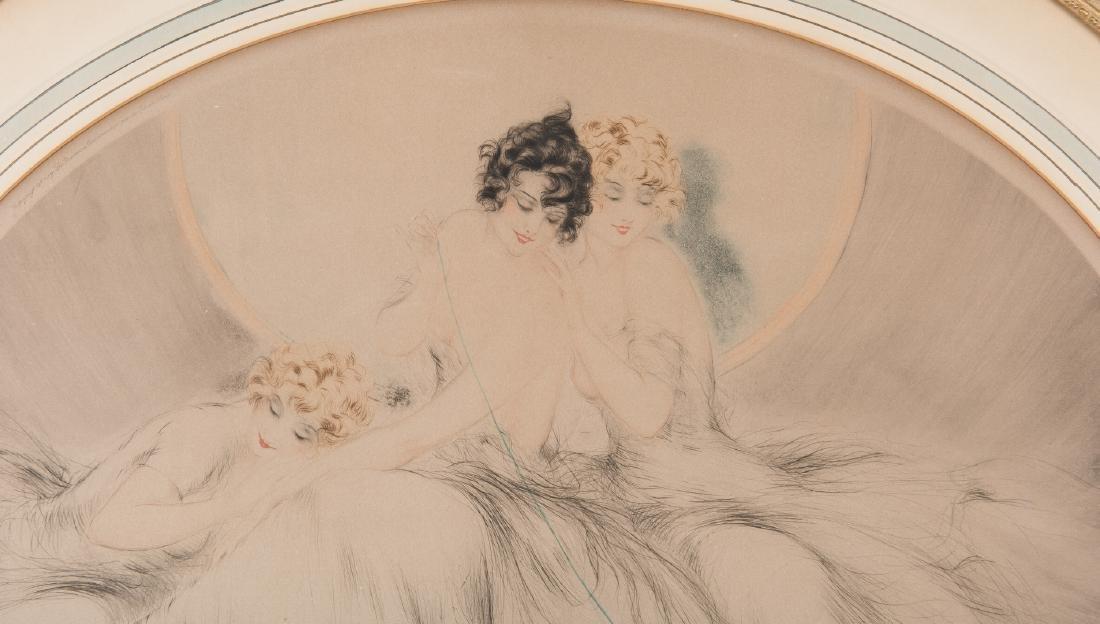 Louis Icart Lithograph, 3 Beauties w/ Cat - 5