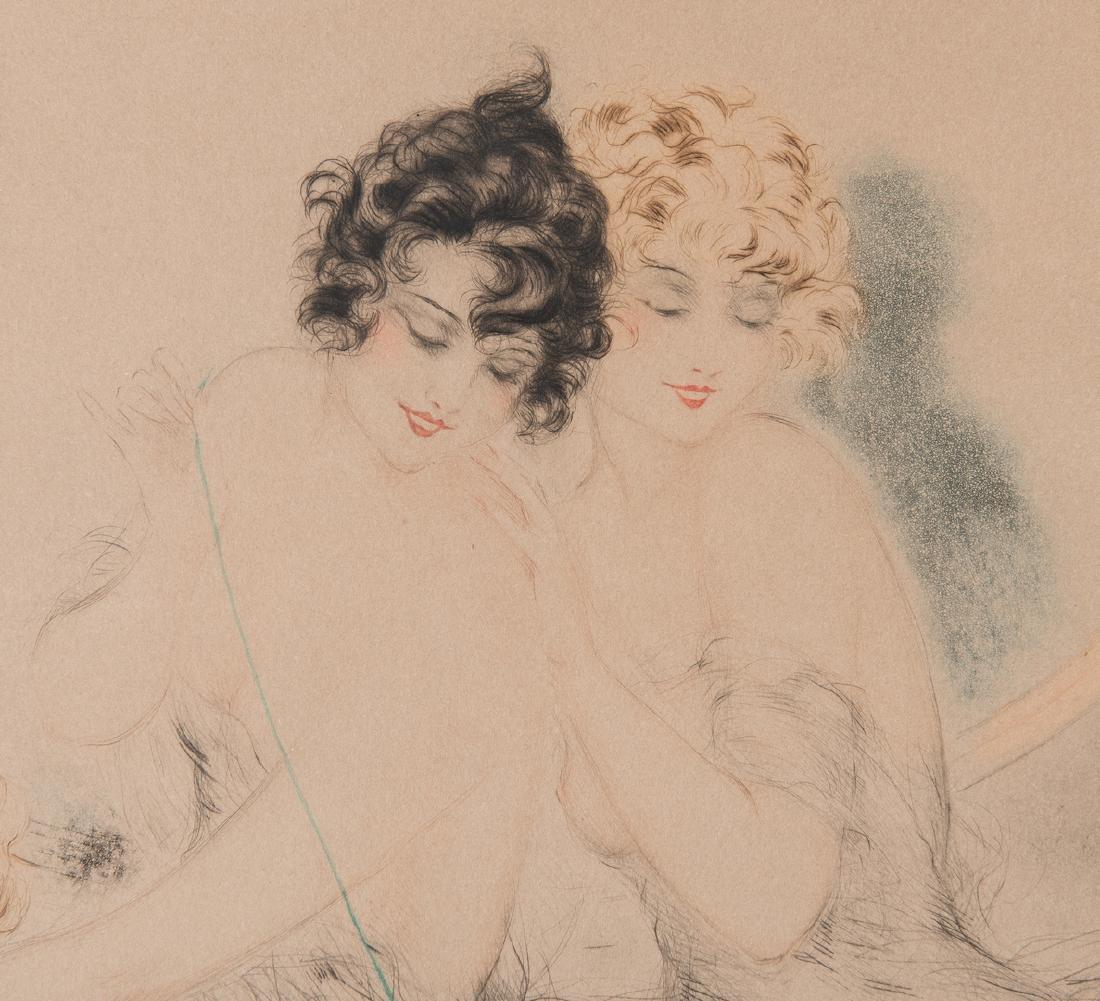 Louis Icart Lithograph, 3 Beauties w/ Cat - 6