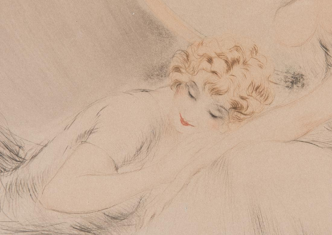 Louis Icart Lithograph, 3 Beauties w/ Cat - 7