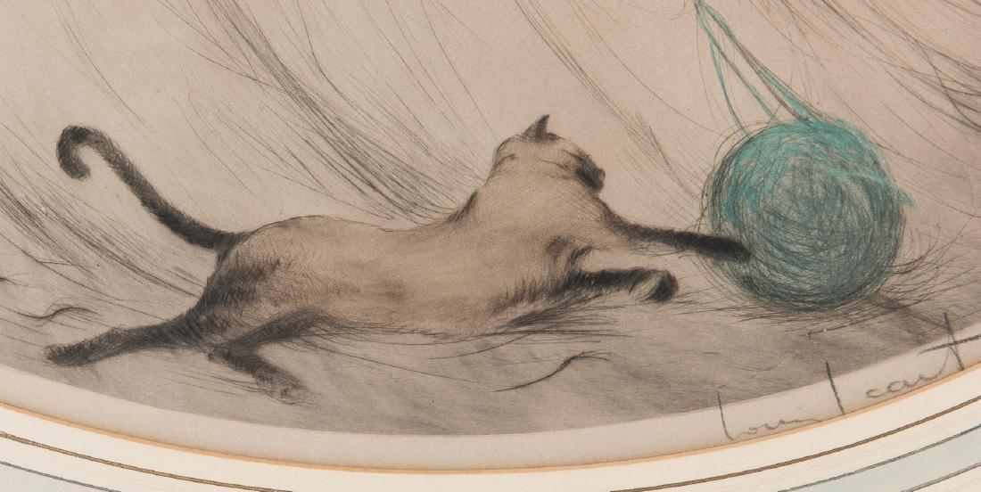 Louis Icart Lithograph, 3 Beauties w/ Cat - 8
