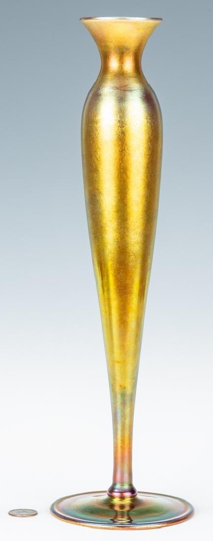 "Tall Steuben Aurene Art Glass Vase, 16"", Labeled and - 3"