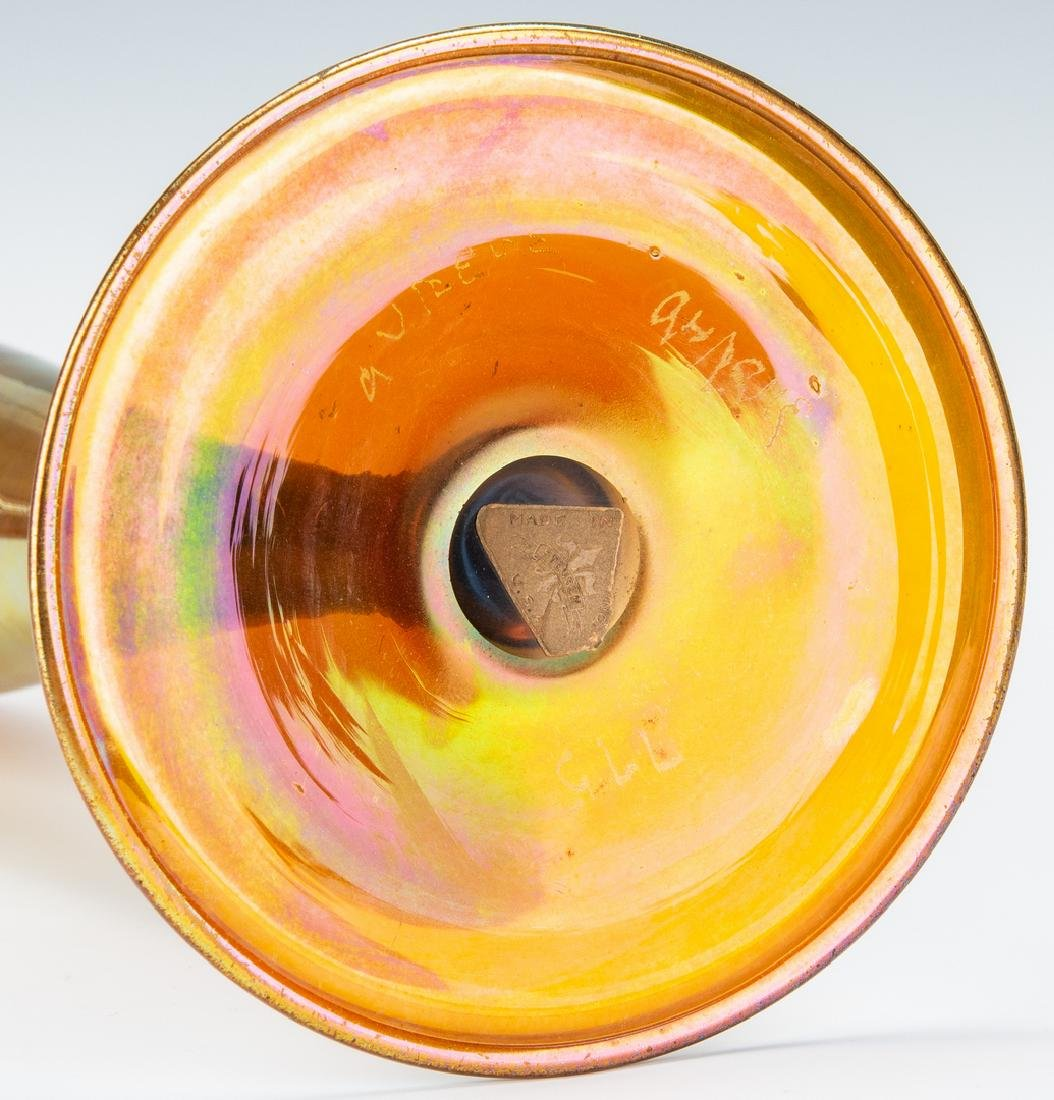 "Tall Steuben Aurene Art Glass Vase, 16"", Labeled and - 7"