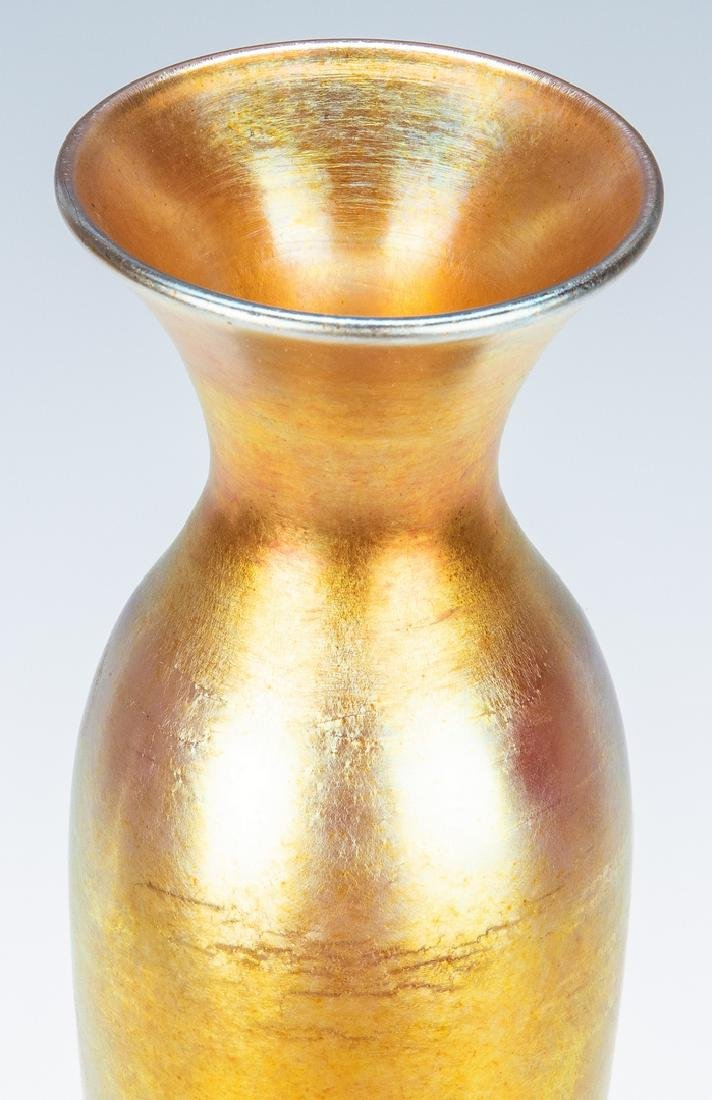 "Tall Steuben Aurene Art Glass Vase, 16"", Labeled and - 8"