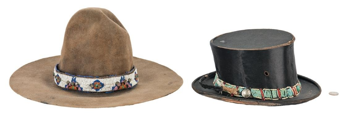 2 Western Hats w/ Native American Beaded Bands