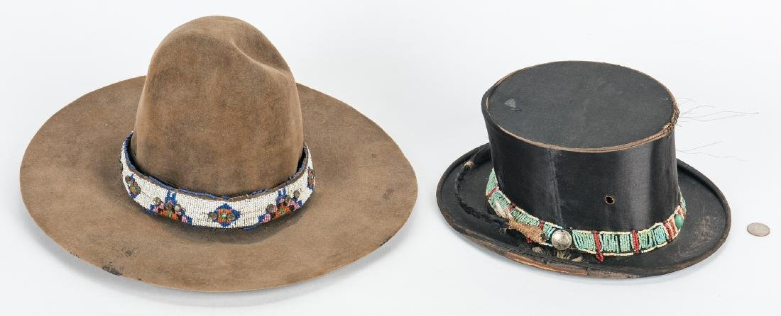 2 Western Hats w/ Native American Beaded Bands - 2