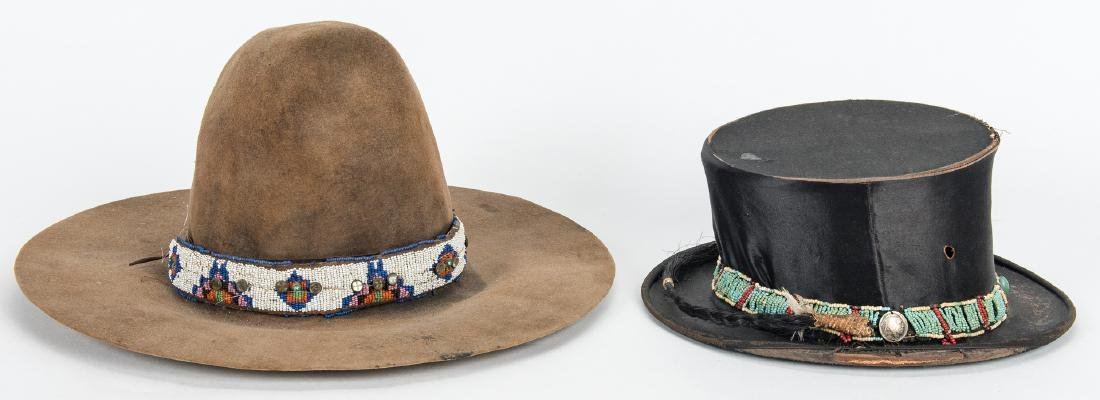 2 Western Hats w/ Native American Beaded Bands - 3