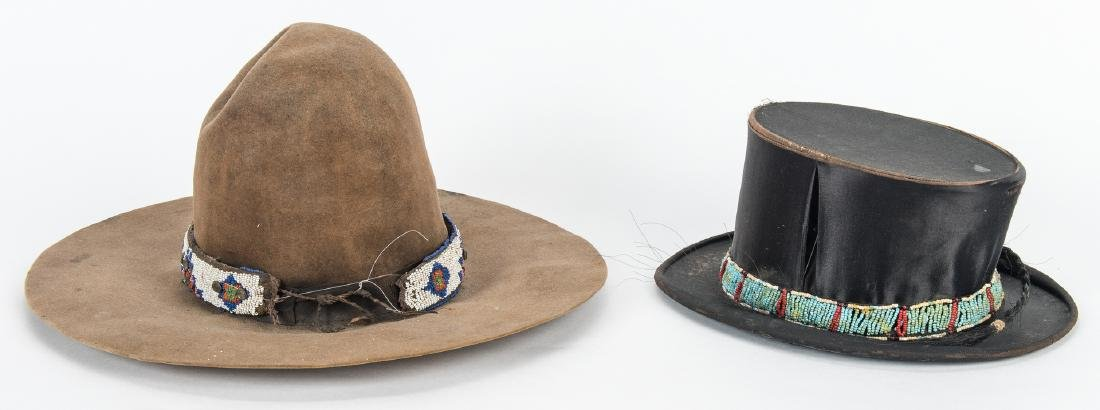 2 Western Hats w/ Native American Beaded Bands - 4