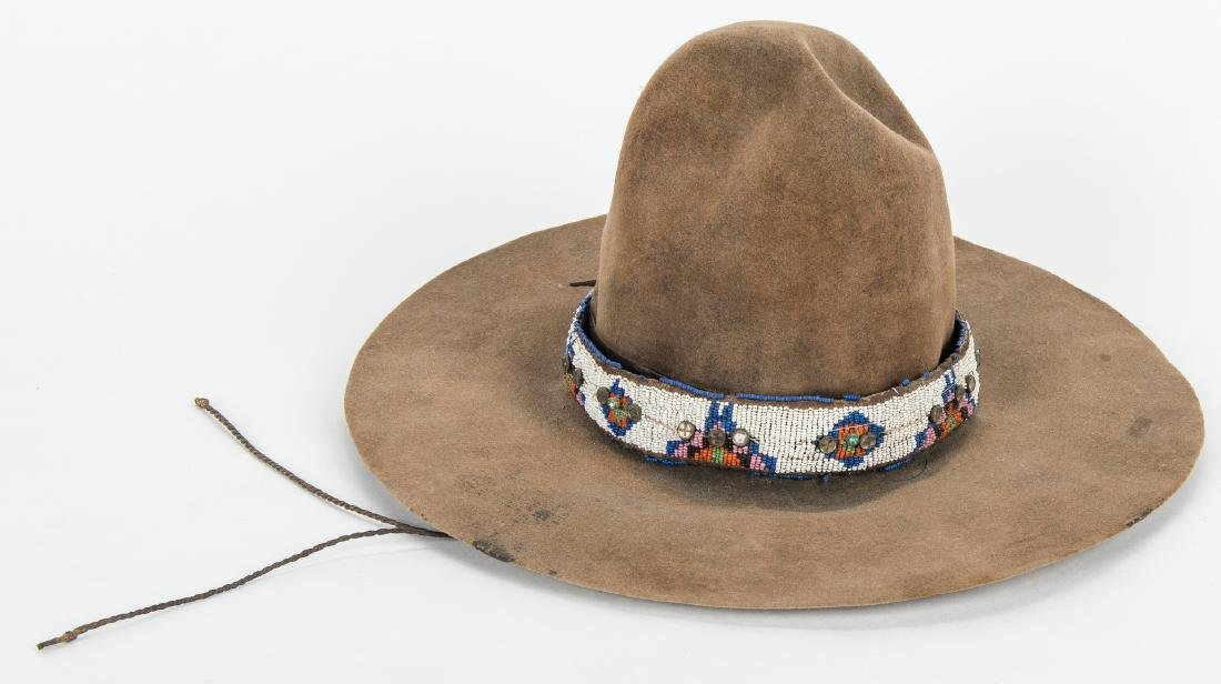 2 Western Hats w/ Native American Beaded Bands - 5