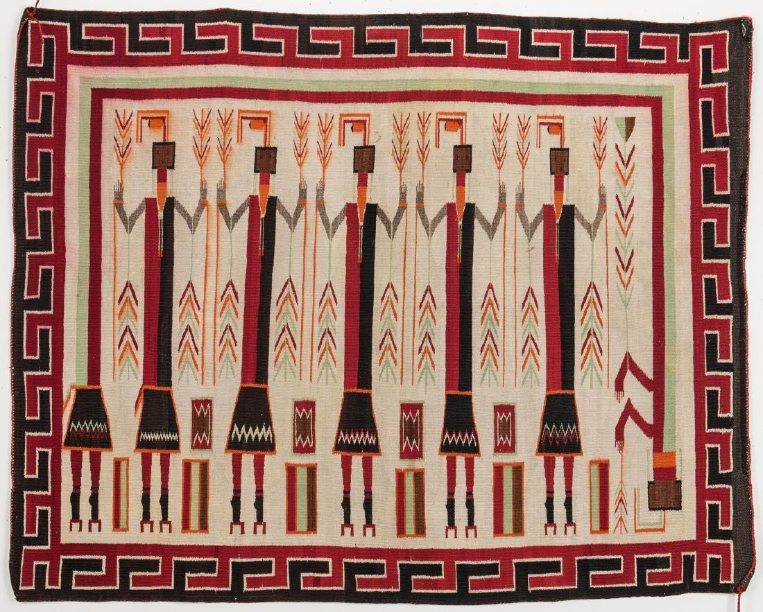 Navajo Yei Rug, 4.4 x 3.5, c. 1920