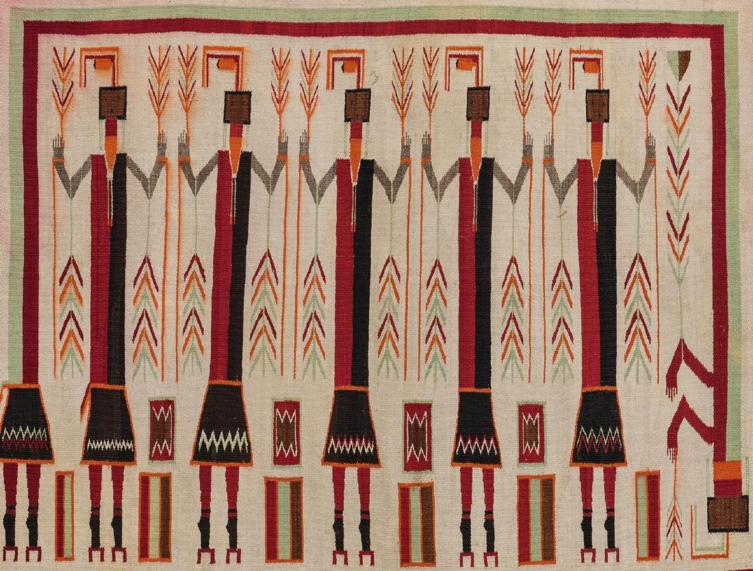 Navajo Yei Rug, 4.4 x 3.5, c. 1920 - 2