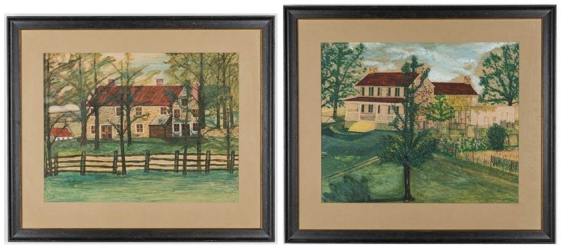Pair 1930s Waterford VA Folk Art House Paintings