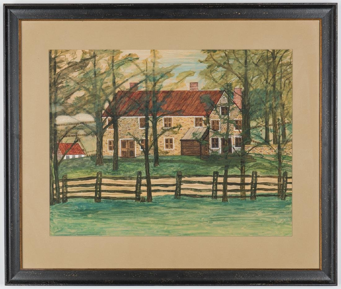 Pair 1930s Waterford VA Folk Art House Paintings - 2
