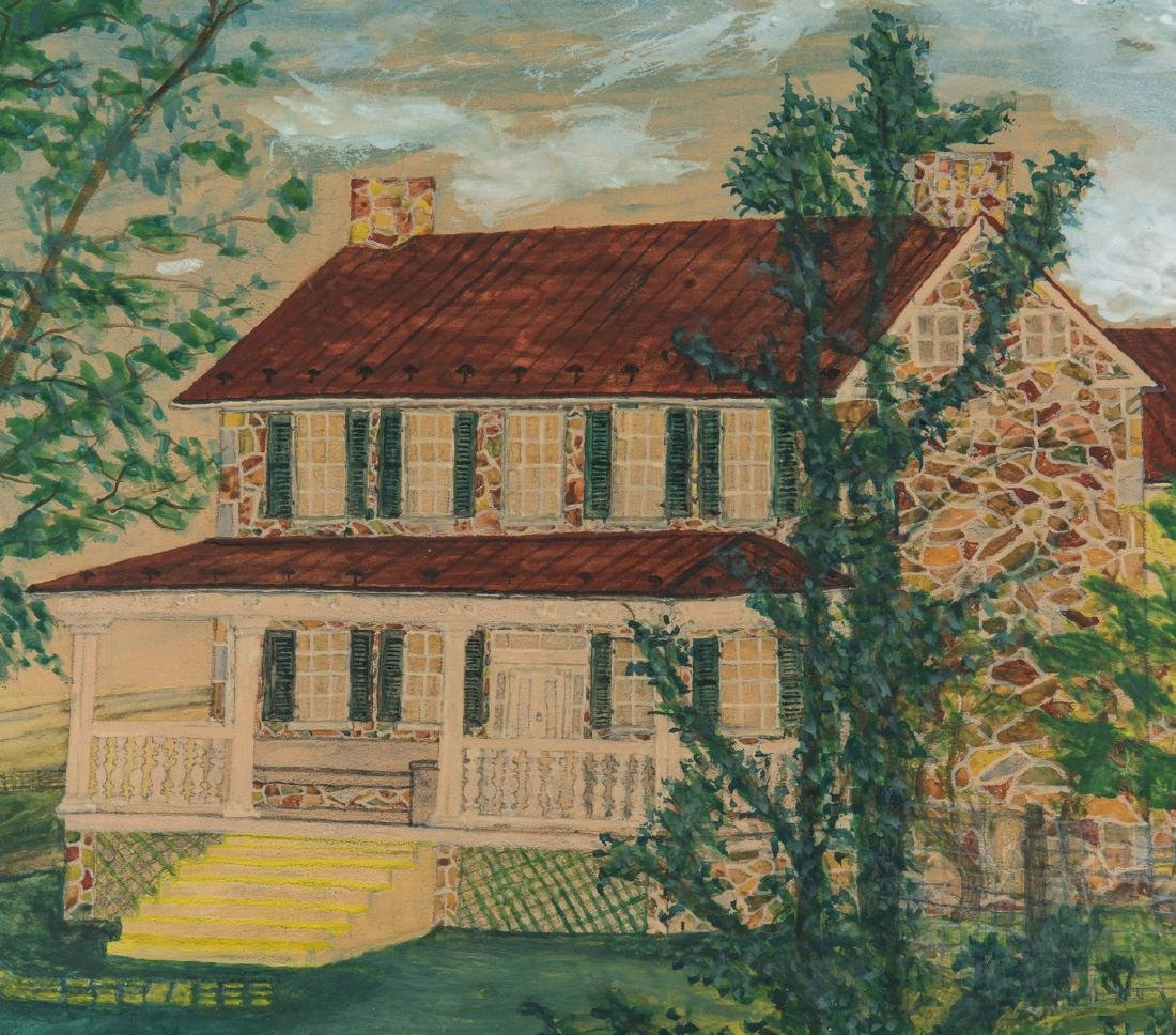 Pair 1930s Waterford VA Folk Art House Paintings - 5