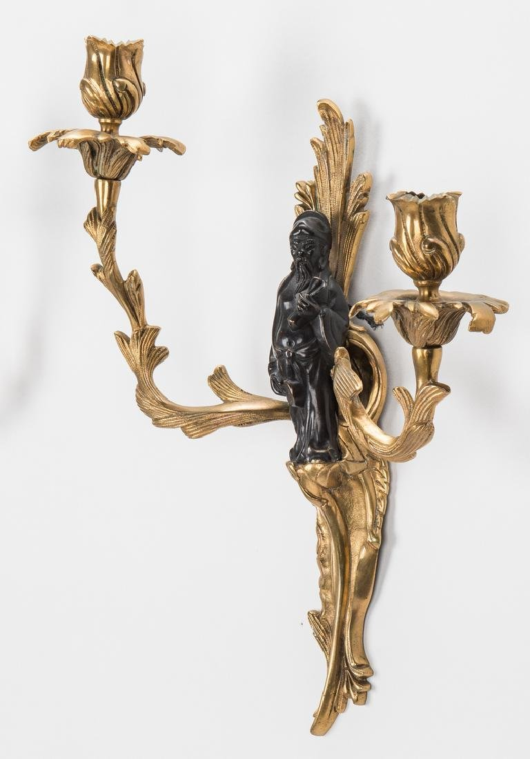 Pr. French Bronze Chinoiserie Sconces - 10