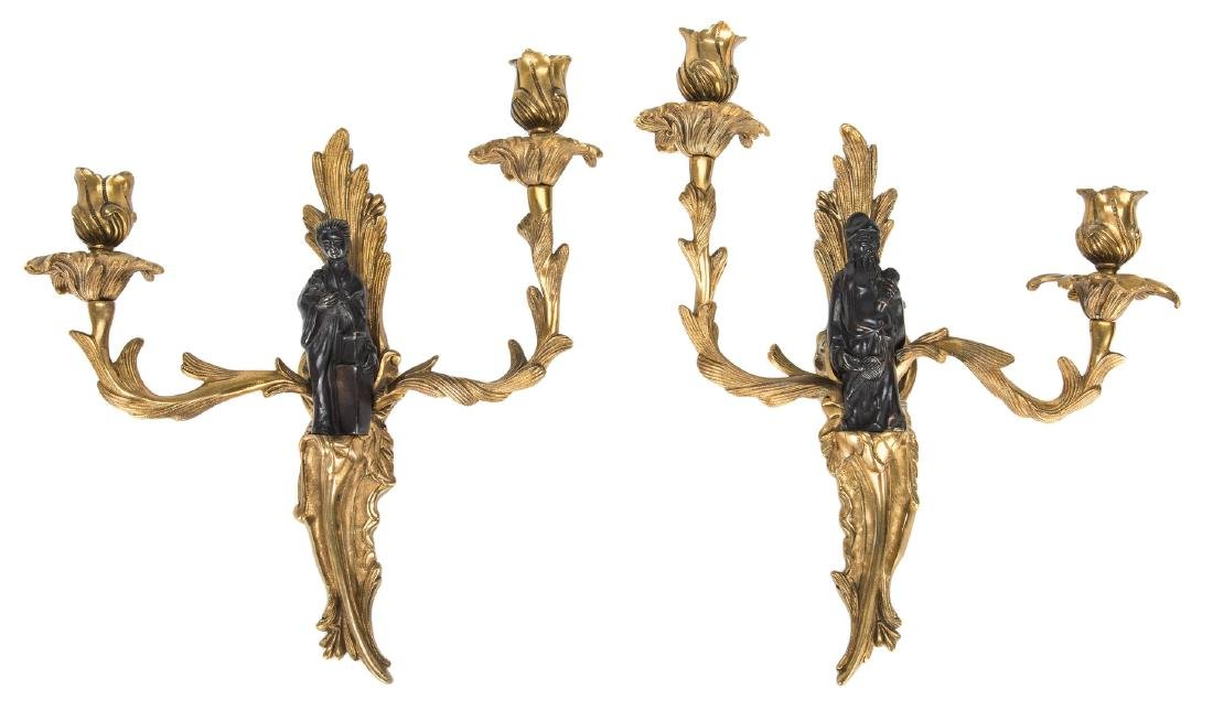 Pr. French Bronze Chinoiserie Sconces