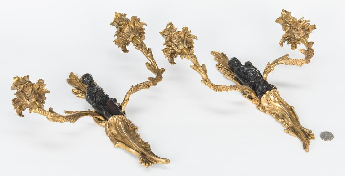 Pr. French Bronze Chinoiserie Sconces - 2