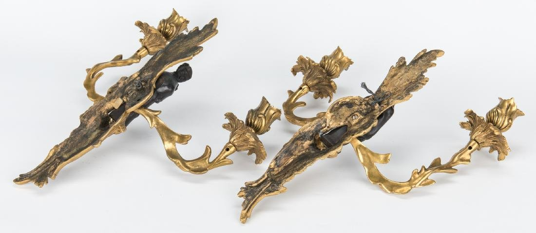 Pr. French Bronze Chinoiserie Sconces - 5