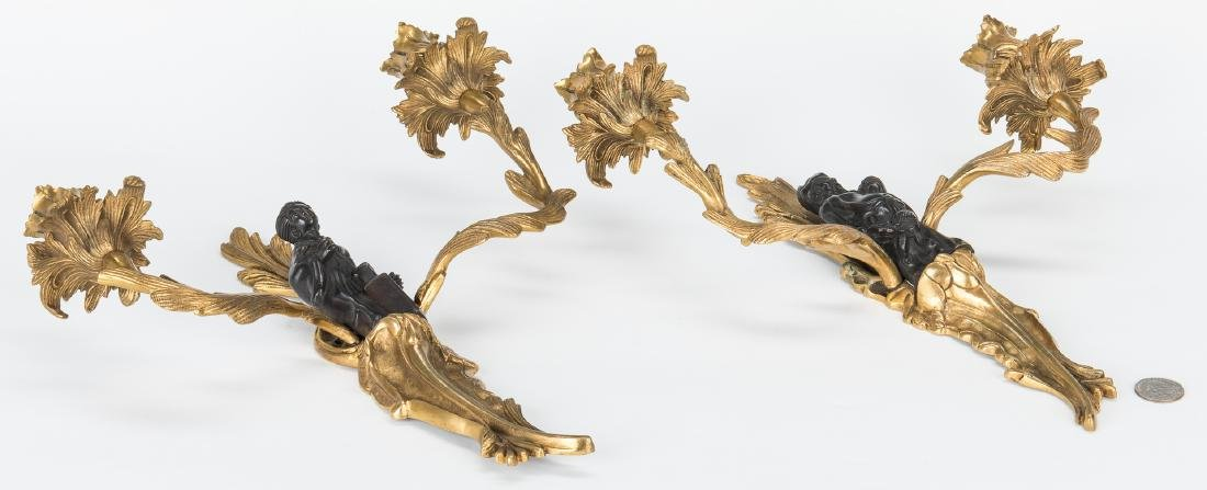 Pr. French Bronze Chinoiserie Sconces - 7