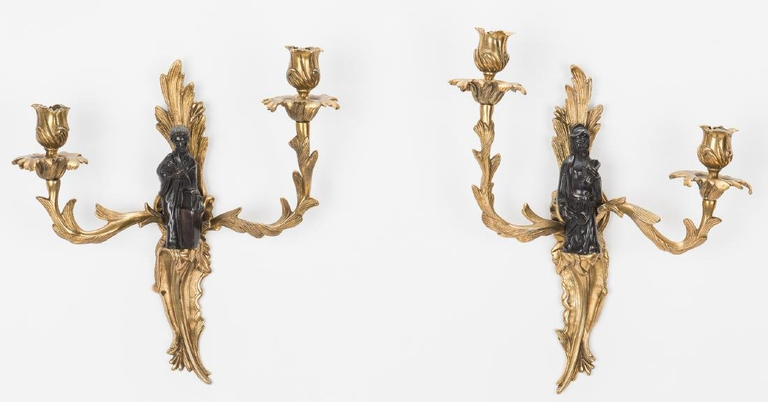 Pr. French Bronze Chinoiserie Sconces - 8