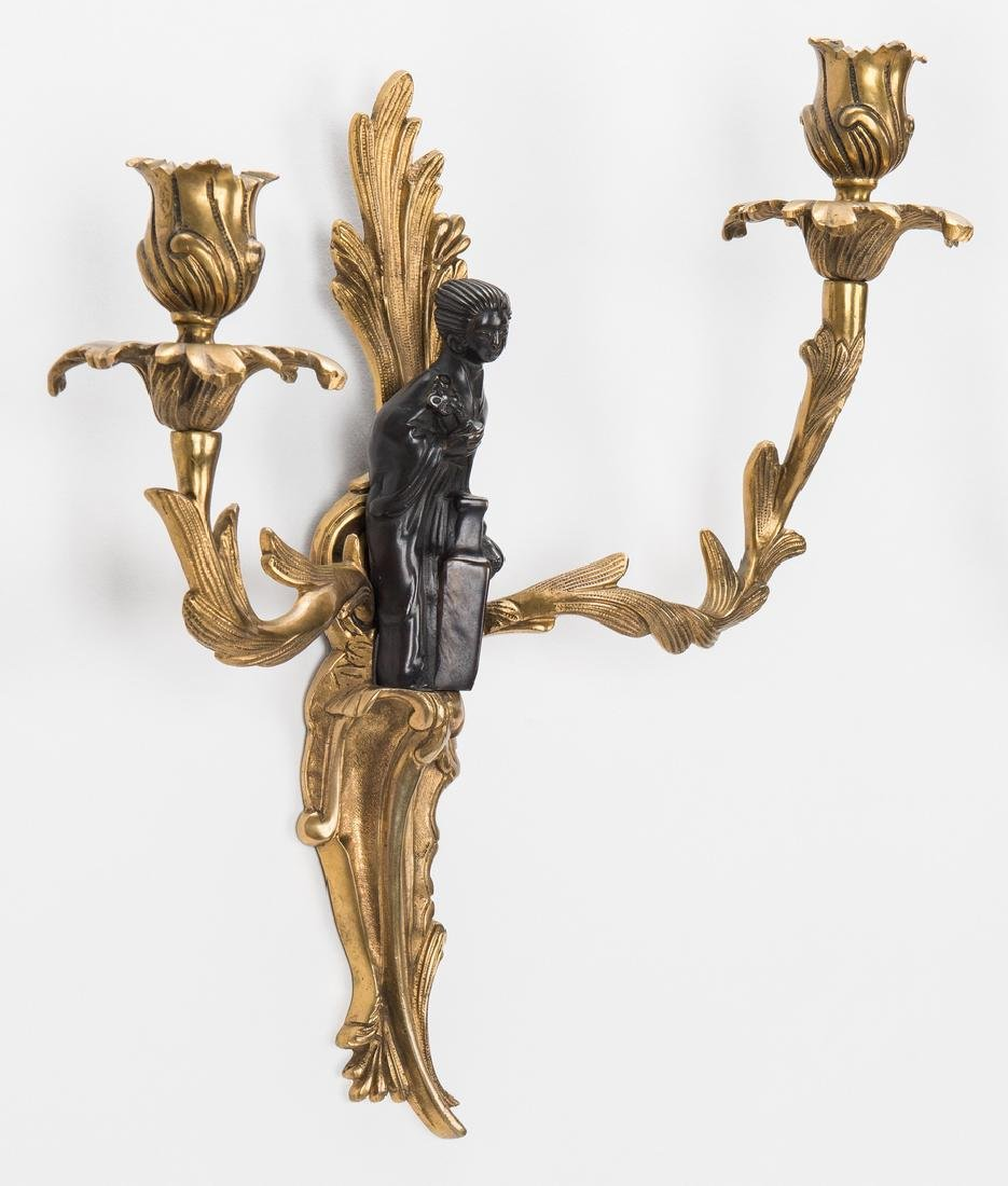 Pr. French Bronze Chinoiserie Sconces - 9