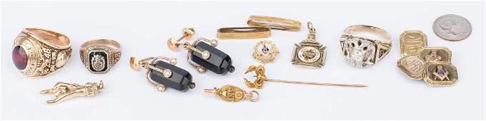 13 items of 10K gold jewelry, incl. Masonic