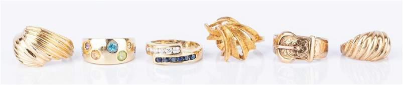 6 Various Fashion and Vintage Gold Rings