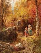 James Crawford Thom, O/C, Children in Autumn Forest