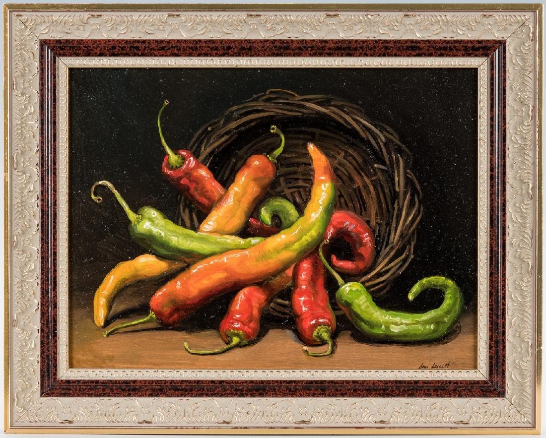 Ann Leggett O/B, Chili Pepper Still Life Painting
