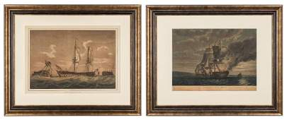 2 Marine Engravings, Naval Battles