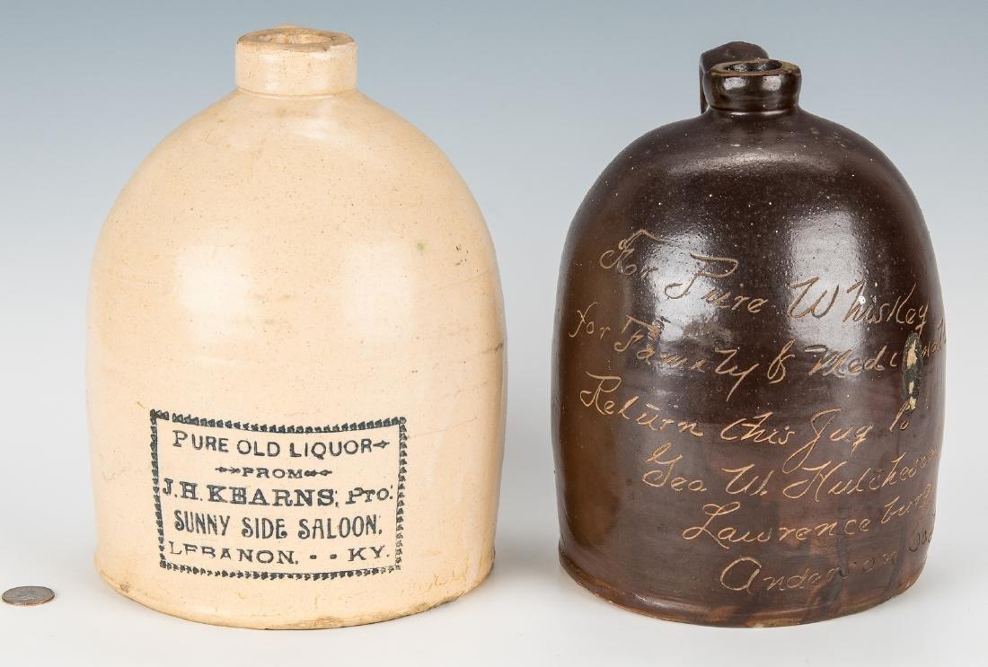 2 Kentucky Stoneware Whiskey Advertising Jugs