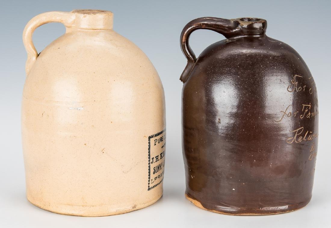 2 Kentucky Stoneware Whiskey Advertising Jugs - 2